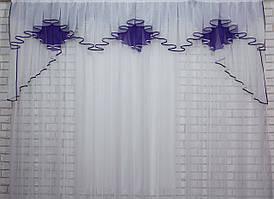 Ламбрекен на карниз 2.5м.модель №93 , цвет фиолетовый с белым