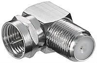 Перехідник антенний RF:F M/F Goobay адаптер 90ш L=23.8mm Zinc Cu 5 шт (75.01.1390)
