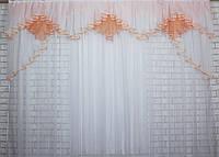 Ламбрекен на карниз 2.5м. Модель №93, цвет персиковый с белым