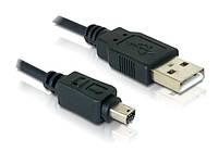 Кабель пристроїв USB2.0 A-mini 8p M/M Delock 1.5m Olympus D=3.5mm Ferrite Черный(70.08.2265)