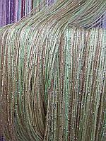 Трехцветные шторы нити (кисея) с люрексом, фото 1