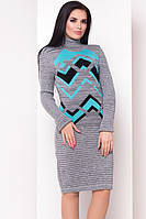 Платье женское зима узоры (44/50 универсал) (цвет узоров бирюза) СП