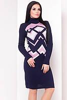 Платье женское зима узоры (44/50 универсал) (цвет т.синий + розовый) СП