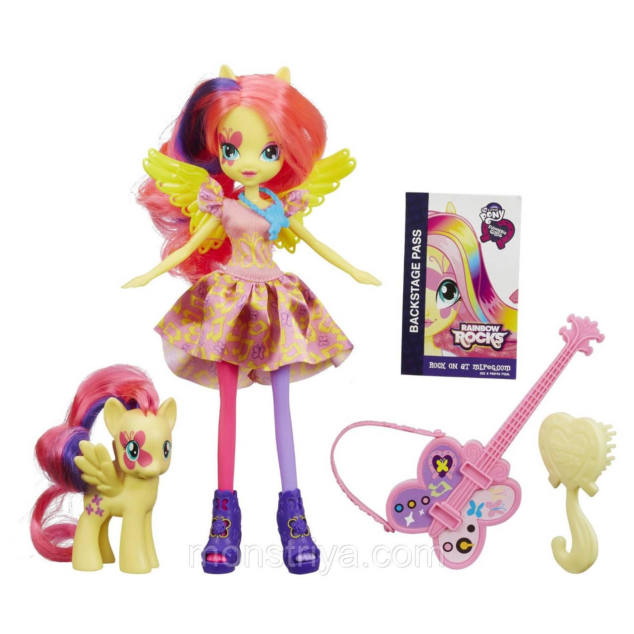 Набор кукла Флатершай Рок-Звезда с пони и гитарой My Little Pony Equestria Girls Fluttershy Doll and Pony Киев