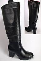 Женские кожаные зимние сапоги на каблуке, высокие зимние сапоги от производителя модель КА1005-02