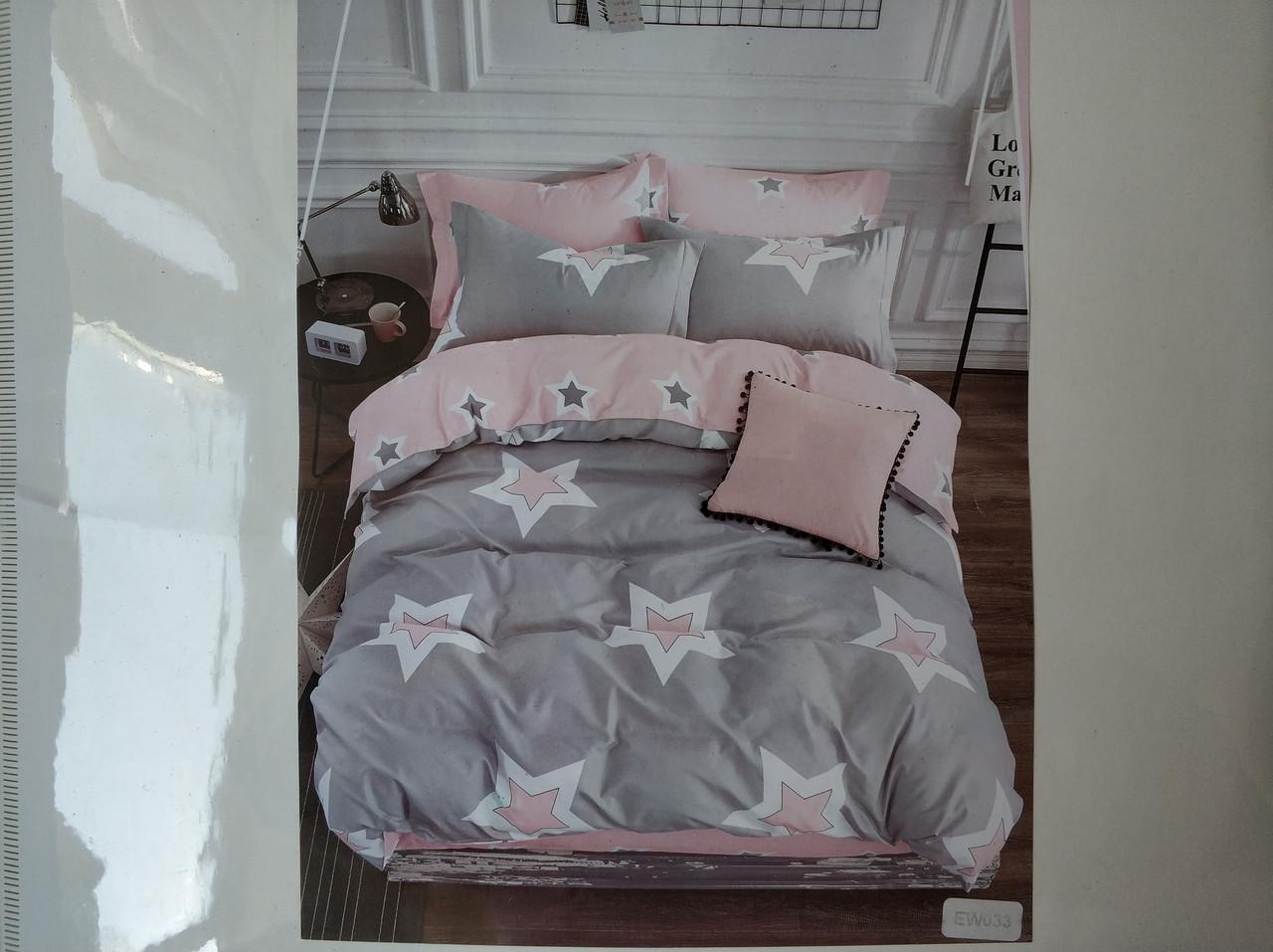 Постельное белье полисатин двуспальный евро ELWAY EW033
