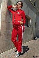 Женский спортивный костюм  с лампасом красный, черный, фото 1