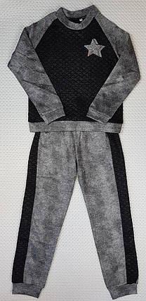 Модный прогулочный детский костюм для девочки ЗВЕЗДА  р. 128-146 серый+черный, фото 2