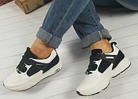 Женские кроссовки белые с черными вставками, фото 1