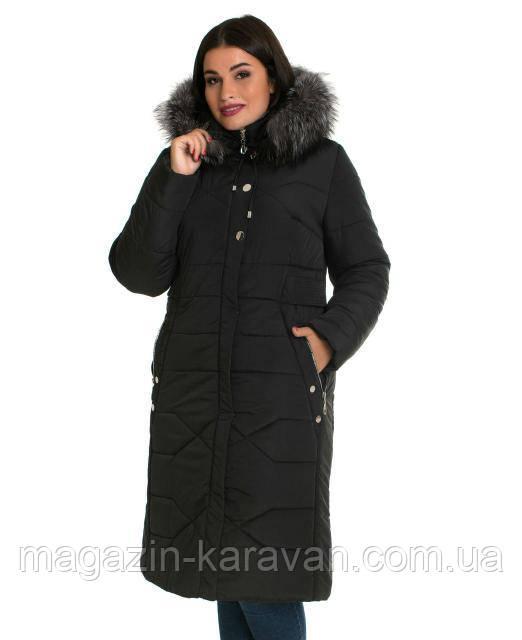 Пальто-пуховик женский ЛД 30 черный чернобурка