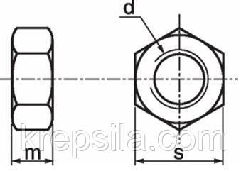 Гайка М14 DIN 934 класс прочности 10.0 - чертеж