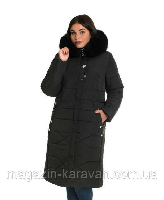 Пальто-пуховик ЛД 30 черный песец