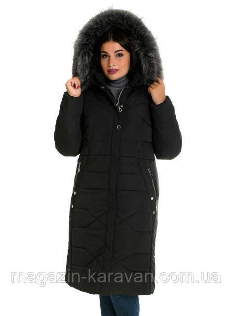 Пальто-пуховик женский ЛД 30 черный мех