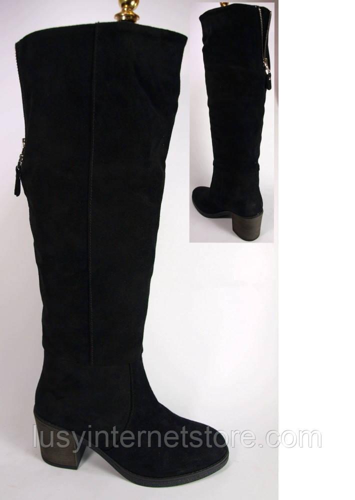 aa9d18818 Женские замшевые зимние сапоги на маленьком каблучке, высокие зимние сапоги  от производителя модель КА1002-51