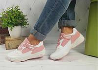 Женские кроссовки белые с розовыми вставками, фото 1