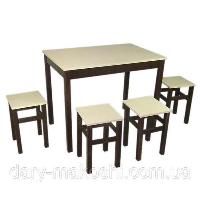 Комплект из натурального дерева Легно (стол+4табурета) с прямыми ногами 100смх60смх75см