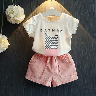 Костюм (футболка + шорты) June Kids Мисс Бетмен 116 см Белый с розовым (06051)