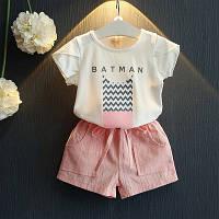 Костюм (футболка + шорты) June Kids Мисс Бетмен 116 см Белый с розовым (06051), фото 1