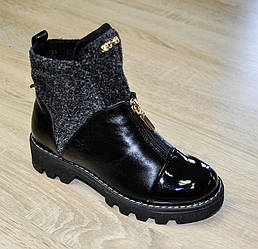 Ботинки демисезонные черного цвета для девочки, GIO KIDS