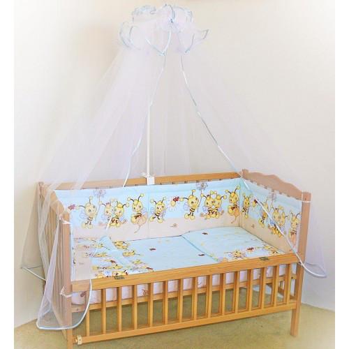 """Детское постельное белье в кроватку """"Бим Бом"""" комплект 5 ед. (пчелка голубой)"""