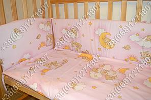 Бортики в детскую кроватку защита бампер Мишки на лесенке розовый, фото 3