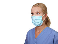 Маска медицинская 3-х слойная не стерильная голубая