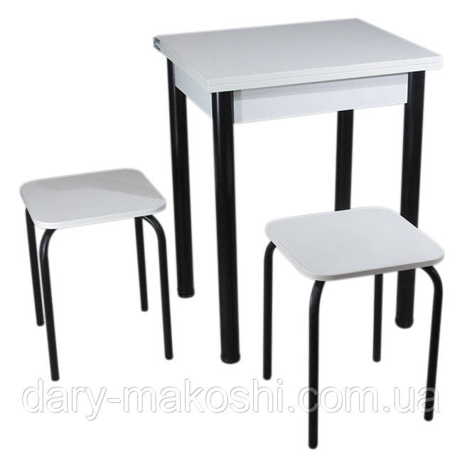 Кухонный комплект Тавол Компакт (раскладной стол+2 табурета) 50(100)х60х75 ножки черные