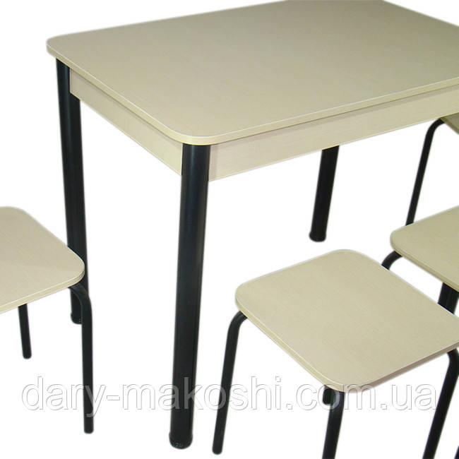 Кухонный комплект Классик (стол+4 табурета) 93х60х75 ноги металл черные