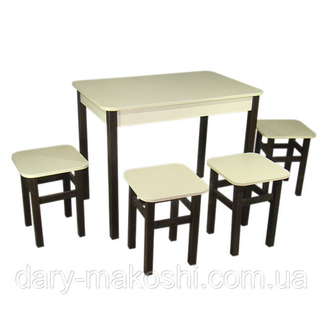 Кухонный комплект Классик (стол+4 табурета) 93х60х75 ноги прямые дерево