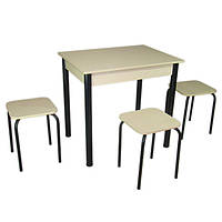 Обеденный Комплект Ретта (стол + 3 табурета) 80х60х75 металл черный