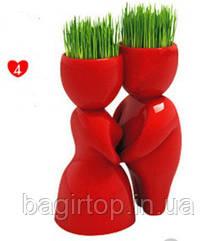 Травянчик керамический красный двойной - пара целуется