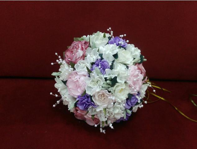 Свадебный букет-дублер айвори с розовым и сиреневым