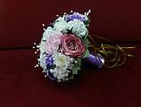 Свадебный букет-дублер айвори с розовым и сиреневым, фото 2