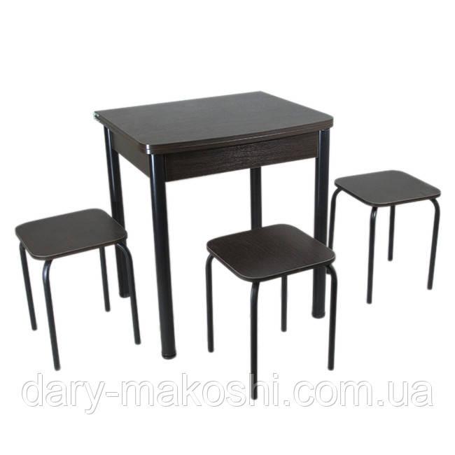 Столовый набор Тавол Овале (Раскладной стол + 3 табурета) ножки черный металл