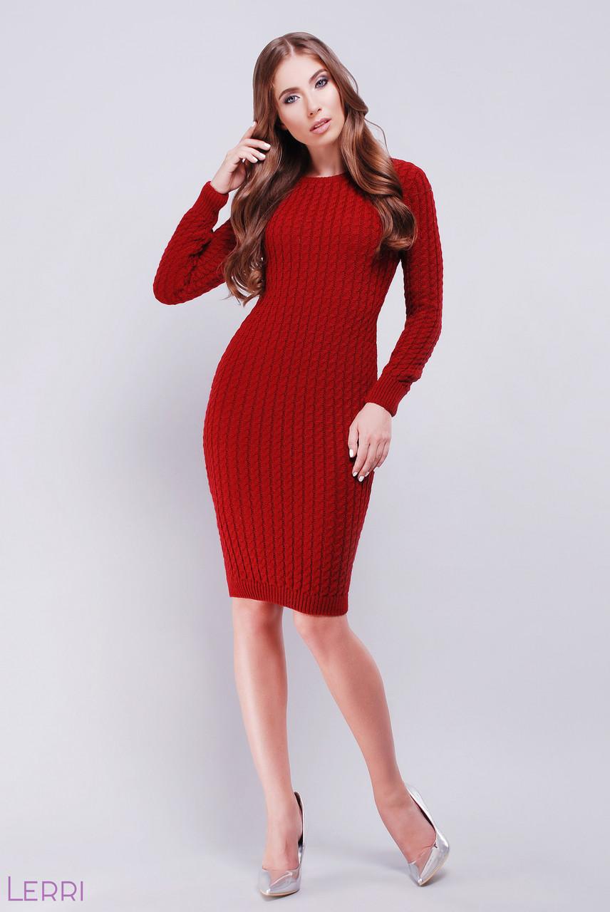 Осеннее платье средней миди длинный рукав облегающее однотонное вязаное  бордовое 1398a55638d