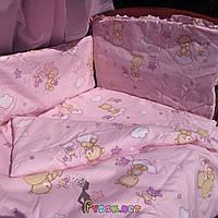 """Постельный набор в детскую кроватку (8 предметов) Premium """"Мишки на облаке"""" розовый, фото 1"""