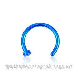 Кольцо для пирсинга носа синее с фиксатором (диаметр 8мм)