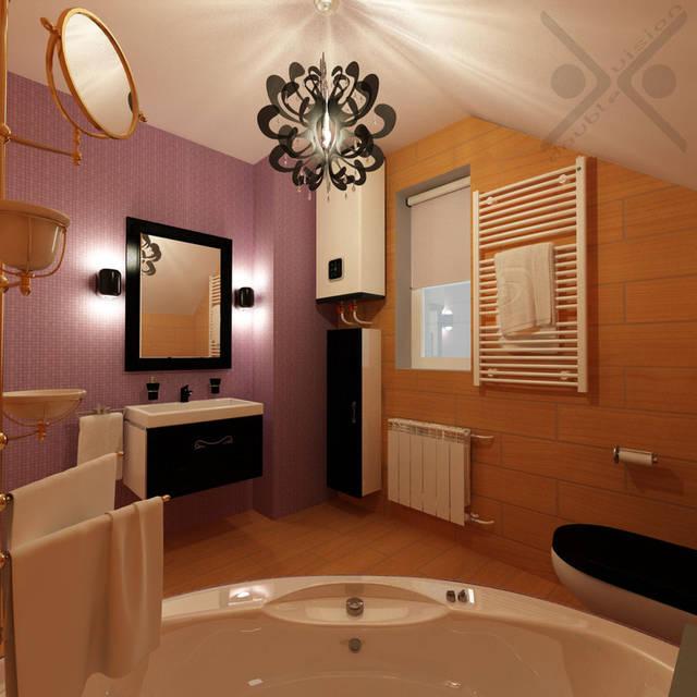 Угловая гидромассажная ванная обеспечит максимальный релакс хозяйке. Небольшое зеркало над ванной поможет в выполнении косметических процедур.