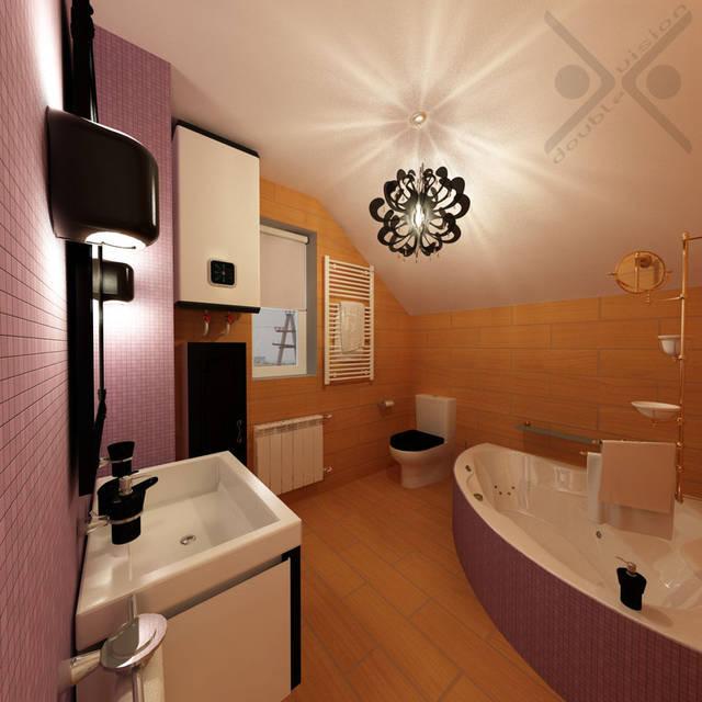 Сиреневая мозаика эффектно подсвечивается настенными бра modular u shape wall черного цвета.