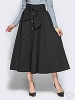 Черная расклешенная юбка ниже колена Марсель