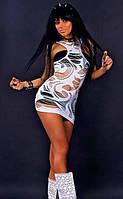 Эффектное белое платье мини Greenice в дырочку, размеры 42 - 50. Оптом и в розницу.