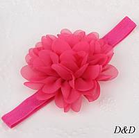 Детская повязка на голову для девочки цветок цвет малиновый
