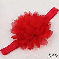 Повязка на голову для девочки, цветок красный, фото 1