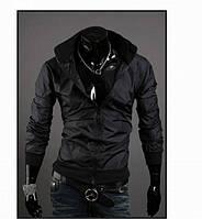 Мужская куртка ветровка черного цвета из плащевой ткани