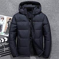 Зимняя мужская куртка с капюшоном темно-синий