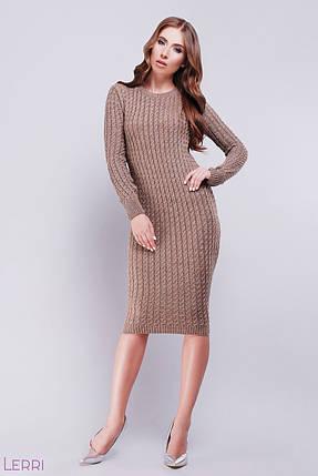 26dcb4fae83 Красивое вязаное платье миди длинный рукав по фигуре однотонное вязаное  капучино