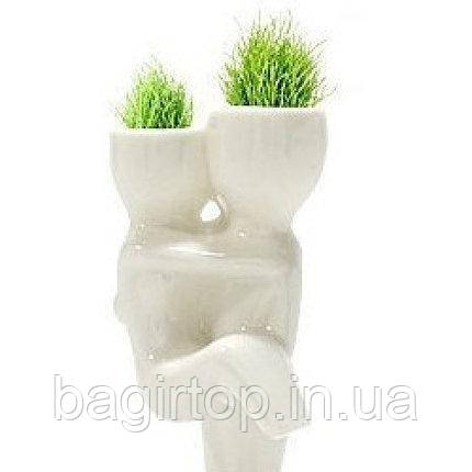 Травянчик керамический белый двойной большой - держит на руках