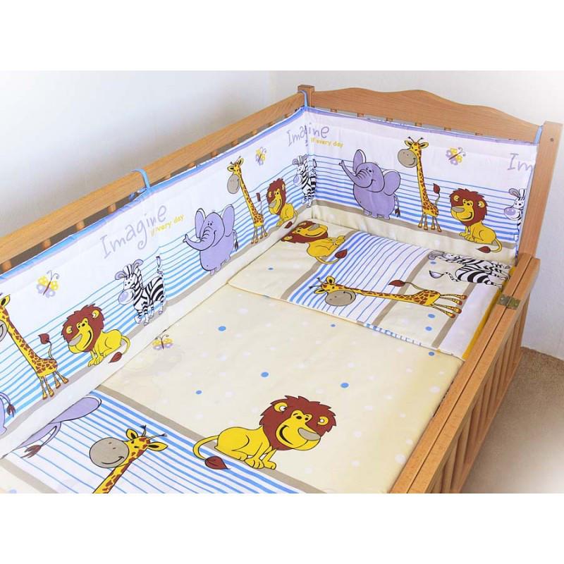 """Детское постельное белье в кроватку """"Бим Бом"""" комплект 6 ед. (Мадагаскар голубой)"""