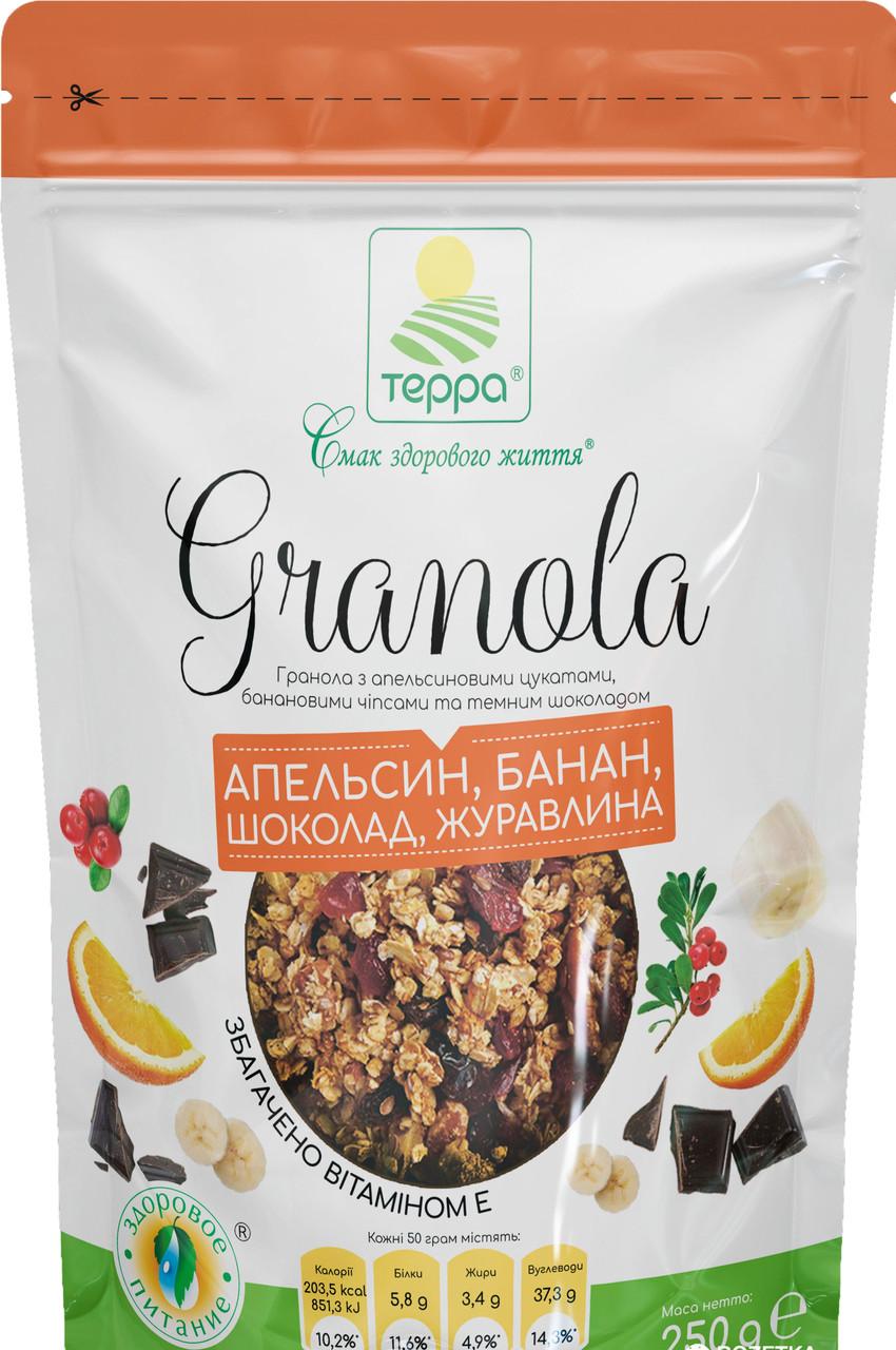 "Гранола апельсин, банан, темный шоколад 250г ""Терра"""