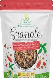 """Гранола з екстрактом стевії, ягодами годжі, насінням льону та цукатами журавлини (дой-пак) 250г """"Терра"""""""